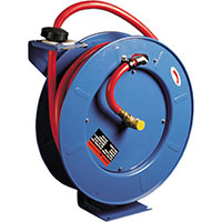"Spring-loaded 1/2"" x 50' hose reel"